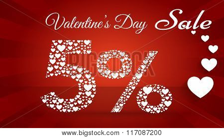 Valentine`s Day Sale,  5 Percent Discount Made Of Little Hearts. Vector