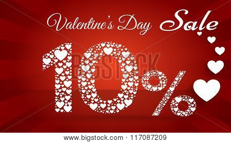 Valentine`s Day Sale,  10 Percent Discount Made Of Little Hearts. Vector