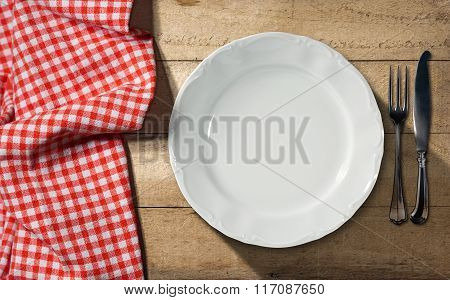 White Plate And Cutlery - Table And Tablecloth