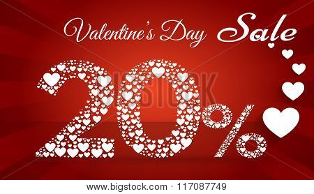 Valentine`s Day Sale,  20 Percent Discount Made Of Little Hearts. Vector