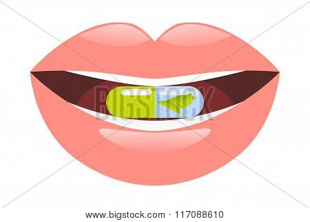 Medicine pill intake. Capsule in mouth vector illustration.