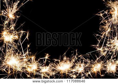 sparkler firework frame background copy space