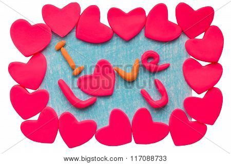 Valentine's card with clay hearts and the text