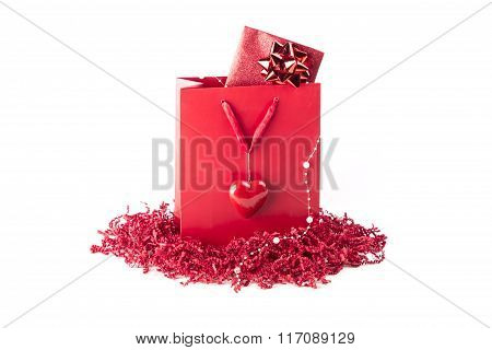 Beautiful Surprise Present Bag With A Symbol Of Love Heart