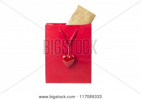 Beautiful Red Surprise Present Bag With Heart And Golden Card
