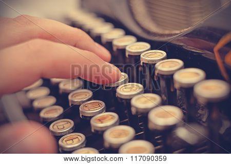 Hand Typing On Typewriter