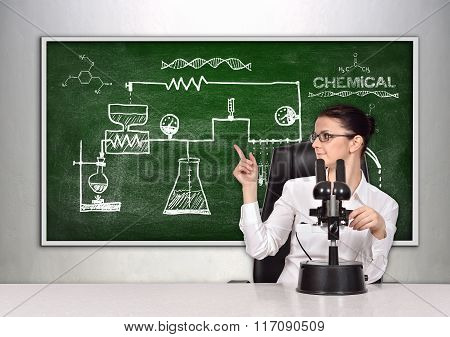 Blackboard With Drawing Scheme Chemical Reaction