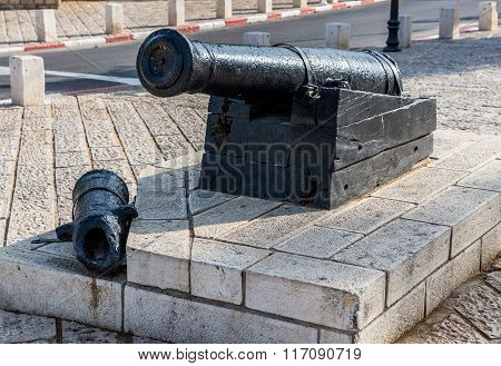 cannon in old town of Jaffa Tel Aviv Israel