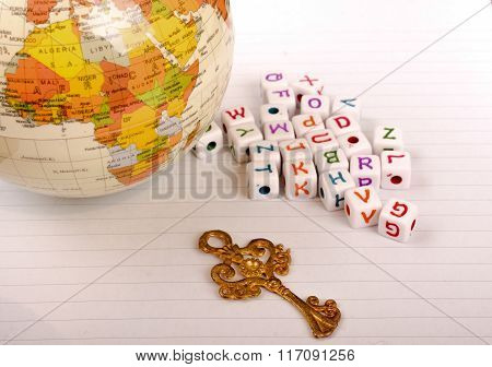 Globe, Key And Cube Letters Of Alphabet