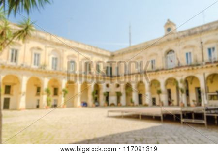 Defocused Background Of A Baroque Cloister In Lecce, Italy