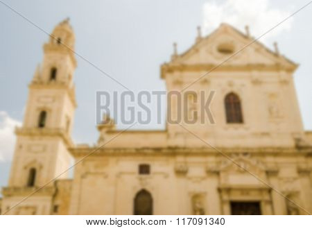 Defocused Background With Cathedral Of Lecce, Salento, Italy