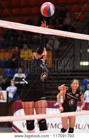 KAPOSVAR, HUNGARY - JANUARY 17: Ildiko Szivos (black 9) in action at the Hungarian I. League volleyball game Kaposvar (black) vs Ujpest (white), January 17, 2016 in Kaposvar, Hungary.