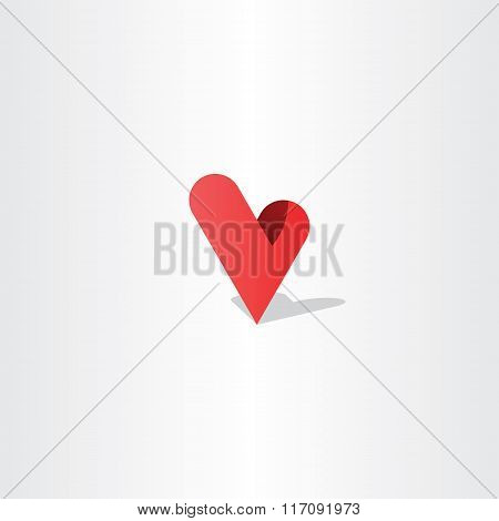 3D Heart Letter V Logo Vector Design