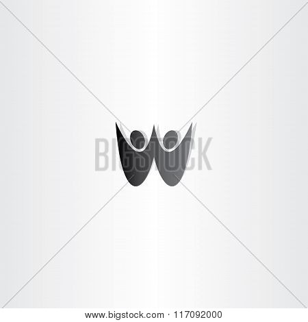 Black People Letter W Logo Sign