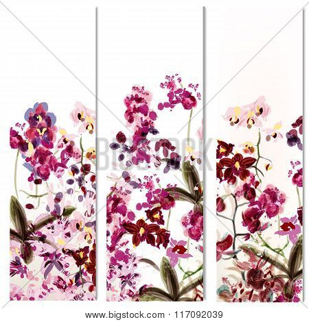 Floral Templates Or Invitation With Orchid Flowers