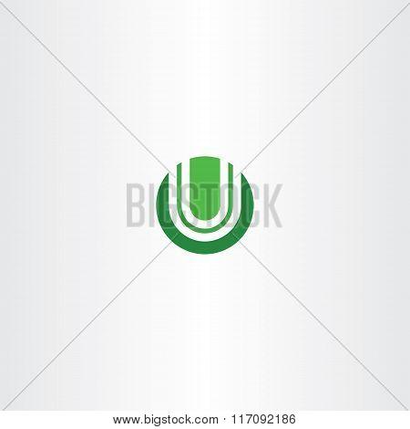 Green Circle Logotype U Logo Letter U Vector Icon
