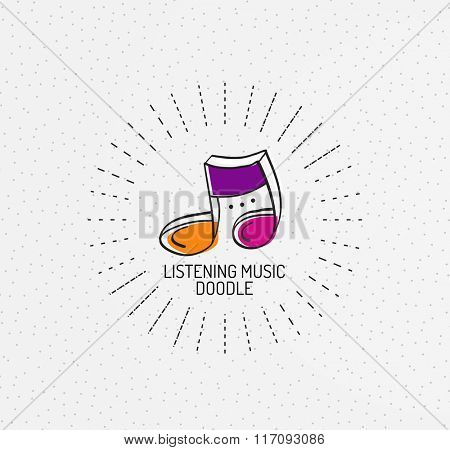 Vector multicolored hand-drawn doodles, icon, stamp, music notes