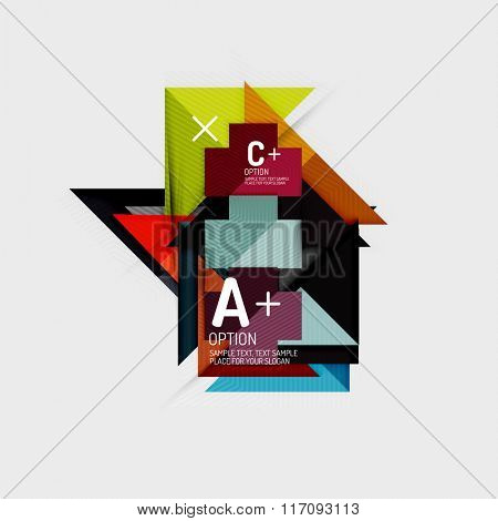Paper style abstract geometric shapes with infographic options