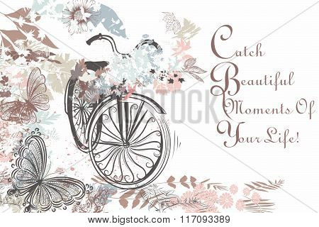 Beautiful Hand Drawn Bicycle With Butterflies And Florals Rustic Style