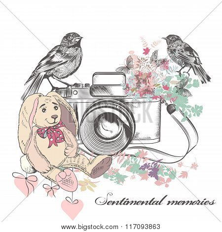 Vector Romantic Card With Old Camera Birds Flowers And Toy Rabbit In Vintage Rustic Style