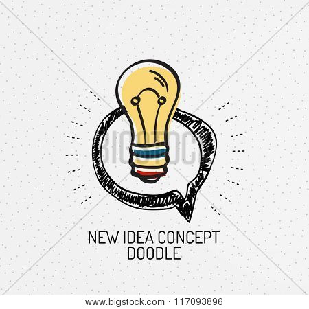Vector multicolored hand-drawn doodles, icon, stamp, idea light bulb