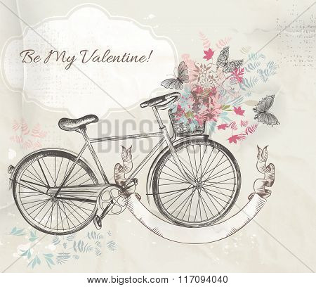 Vector Illustration With Hand Drawn Bicycle And Flowers