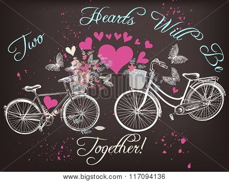 Beautiful Valentine's Day Illustration With Hand Drawn Bicycles And Hearts