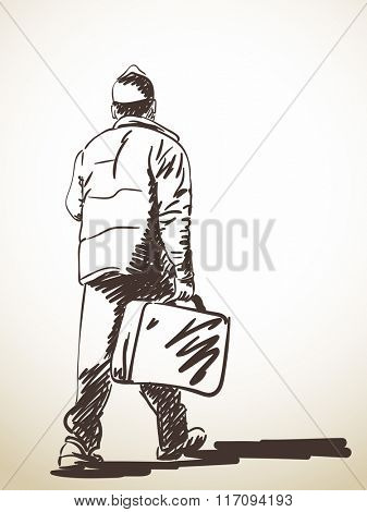 Sketch of walking man with suitcase, Hand drawn illustration
