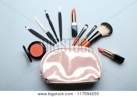 Set of cosmetics on light background