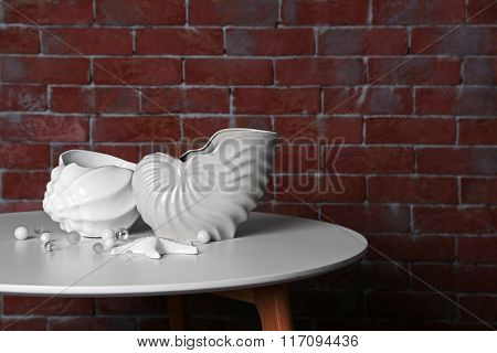 Home decor on brown brick wall background