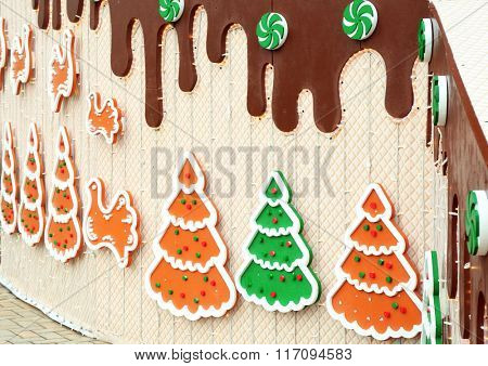 Decorated Christmas wall outdoors