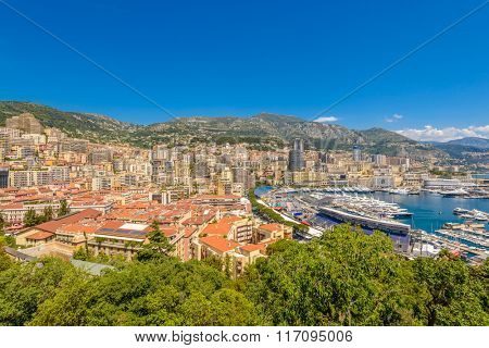 View of monaco and monte carlo in the south of France