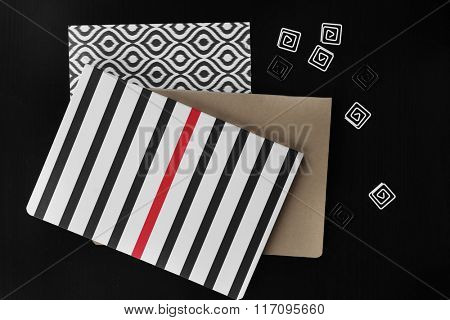 Notebooks with stickers on black table