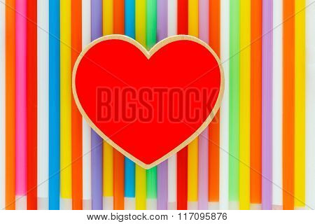 Heart  Red On Colorful Background