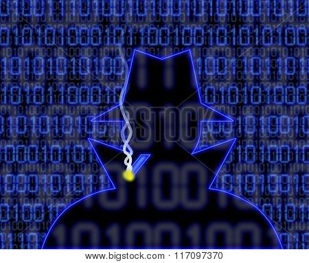 Blue Hacker Silhouette With Cigarette