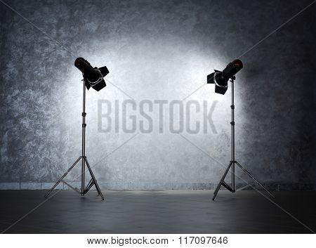Lighting equipment on grey wall
