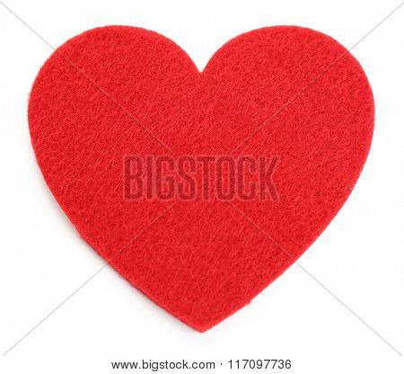 Red felt heart isolated on white background
