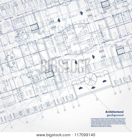 Architectural pattern. Gray building plan, drawing fragment silhouette on white background. Vector i