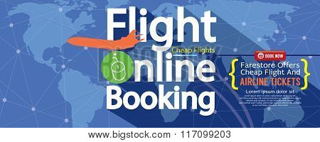 Flight Online Booking For Sale 1500X600 Banner.