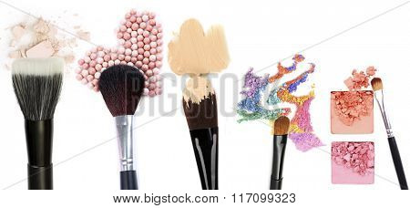 Different makeup brushes isolated on white