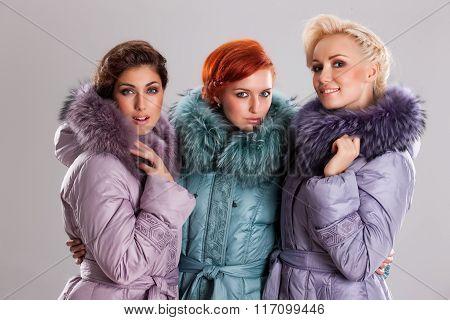Young Beautiful Women In Fashionable Clothing