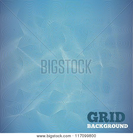 Mesh pattern. Architectural, high-tech, grunge style design. White grid on blue background. Cyberspa