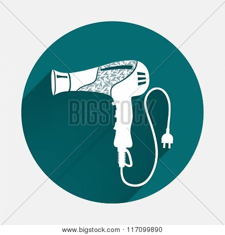 Professional blow hairdryer with cord and two-pin plug. Marine design. Modern colored on turquoise r