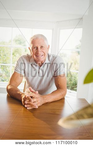 Calm senior man sitting in living room at home