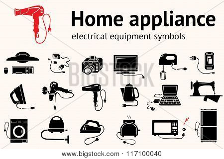 Electrical appliance with plug, equipment icon set. Hairdryer, iron, mixer, cleaner, microwave, sewi