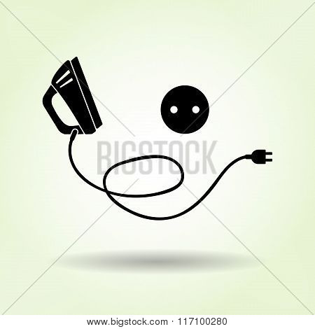 Iron icon. Black sign with shadow on light green background. Electric appliance for dress smoothing
