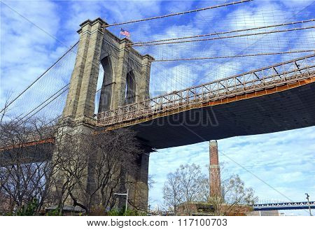 Brooklyn Bridge over East River, New York City, USA