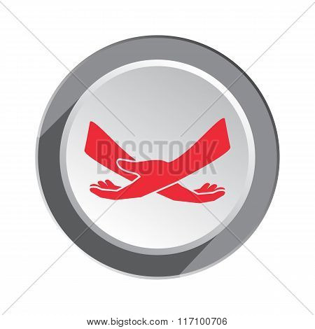 Hand icon. Protection tolerance symbol of health, family, childhood, old age. Red sign on round thre