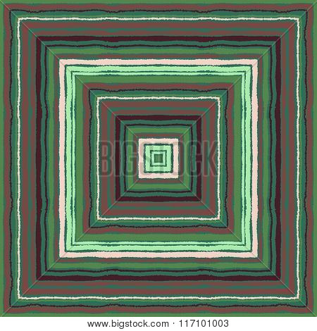 Striped rectangle pattern. Square lines with torn paper effect. Ethnic background. Brown, green, bei