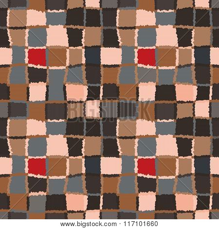 Geometric mosaic seamless pattern. Checked background of woven rectangles and squares. Patchwork, ce